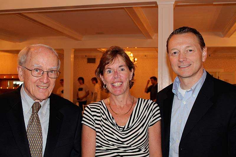 Ted Damon, chairman and founder of the Education Foundation of the Kennebunks and Arundel, with Ann Stockbridge, foundation president, and Andrew Dolloff, superintendent of schools in RSU 21.