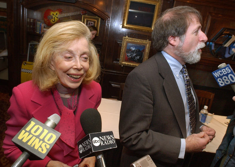 "Psychologist Dr. Joyce Brothers and Bruce Spizer, author of ""The Beatles are Coming,"" are interviewed at a news conference in New York."