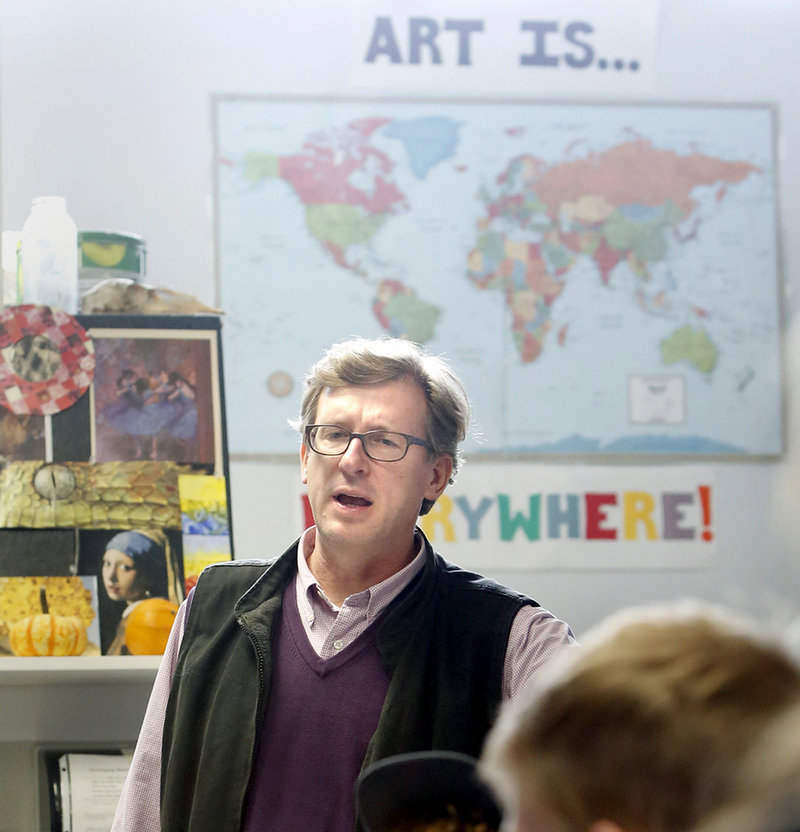 Maine College of Art President Don Tuski meets with students from Belfast High School about attending MECA on April 23, 2013.