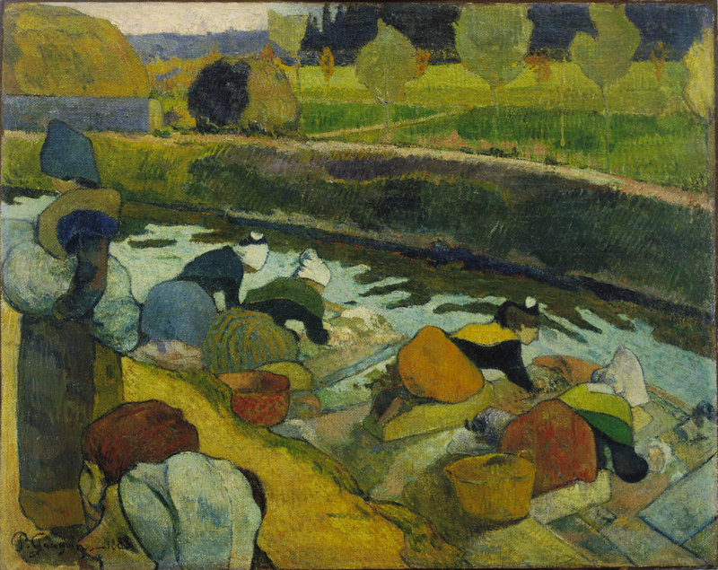 """Washerwomen, Arles,"" oil on burlap by Paul Gauguin, 1888"