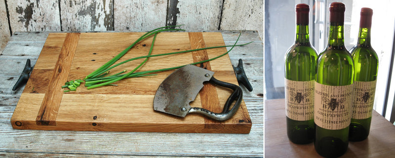 Peg and Awl's cutting board ($80-$120), left, is made of reclaimed oak and fitted with aged boat cleat handles. At right, Blithe and Bonny's Grapefruit Eco Dish Soap is sold in repurposed wine bottles.