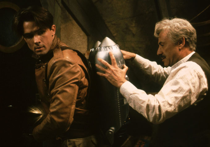 "Billy Campbell and Alan Arkin in ""The Rocketeer"" (1991), the first of the contemporary superhero movies."