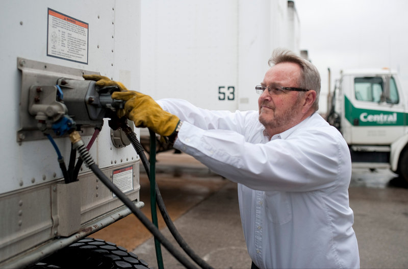 Gary Babbitt, 61, hooks his truck up to a trailer in Dallas, Texas, last month. For longtime truckers like Babbitt of Central Freight Lines, the reluctance that younger people have about driving trucks is hard to understand.