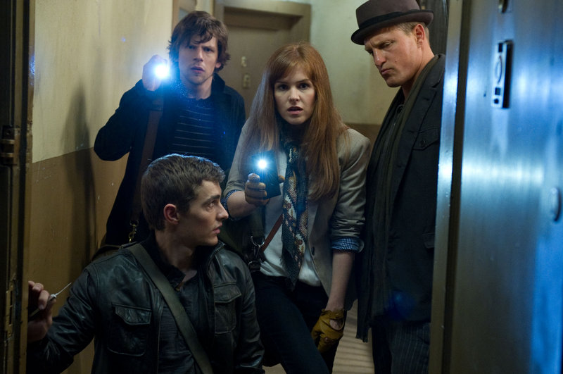 "Clockwise from front, Dave Franco, Jesse Eisenberg, Isla Fisher and Woody Harrelson in ""Now You See Me,"" like ""Ocean's Eleven,"" only with magicians."