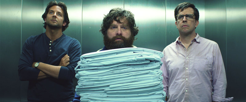 "Bradley Cooper, left, Zach Galifianakis and Ed Helms in ""The Hangover 3"""