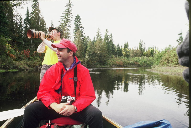 Dee Dauphinee with Allagash guide Wade Kelly, who is blowing a moose call