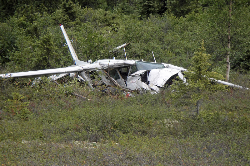 This crumpled Cessna, seen in the Alaska wilderness west of McGrath, was carrying six people when it crashed on Aug. 13, 2011, killing the pilot and a longtime schoolteacher from Anvik. The survivors, Donald and Rosemarie Evans and their two children, were rescued after more than 15 hours.