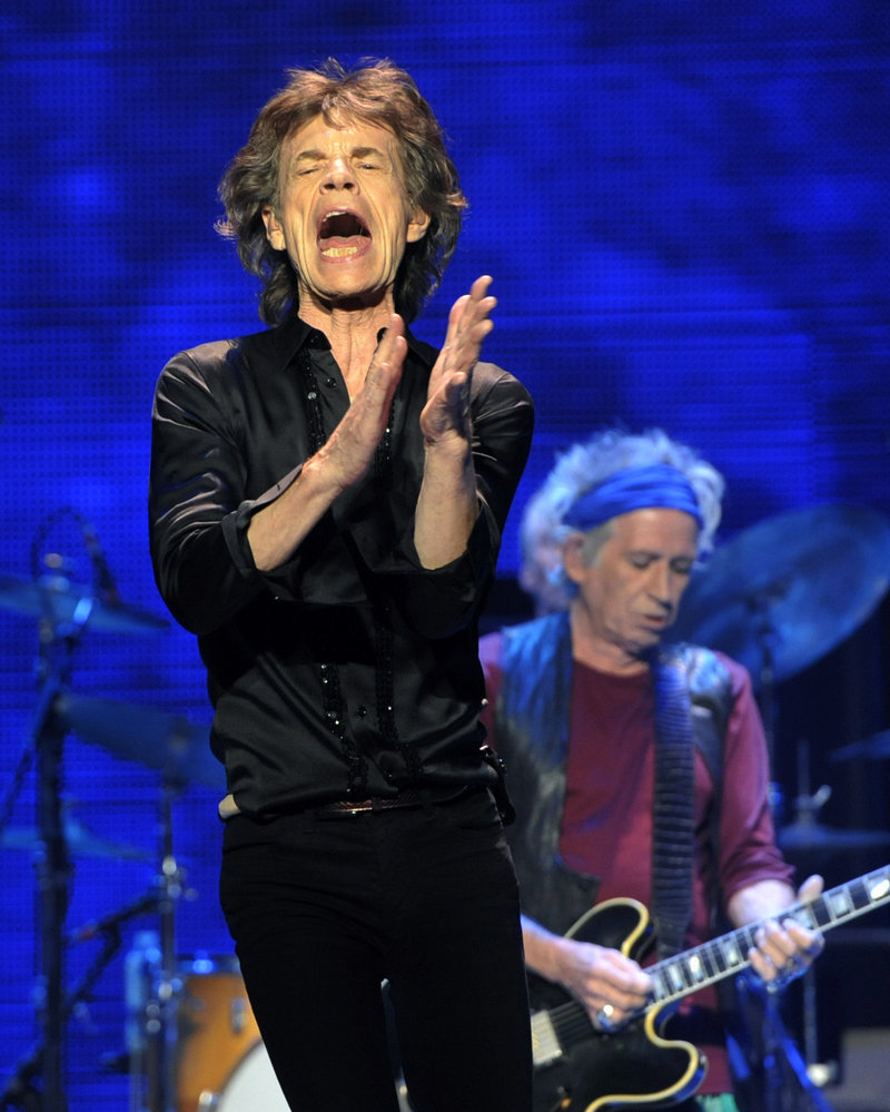 Mick Jagger, left, and Keith Richards of the Rolling Stones perform Friday in Los Angeles.