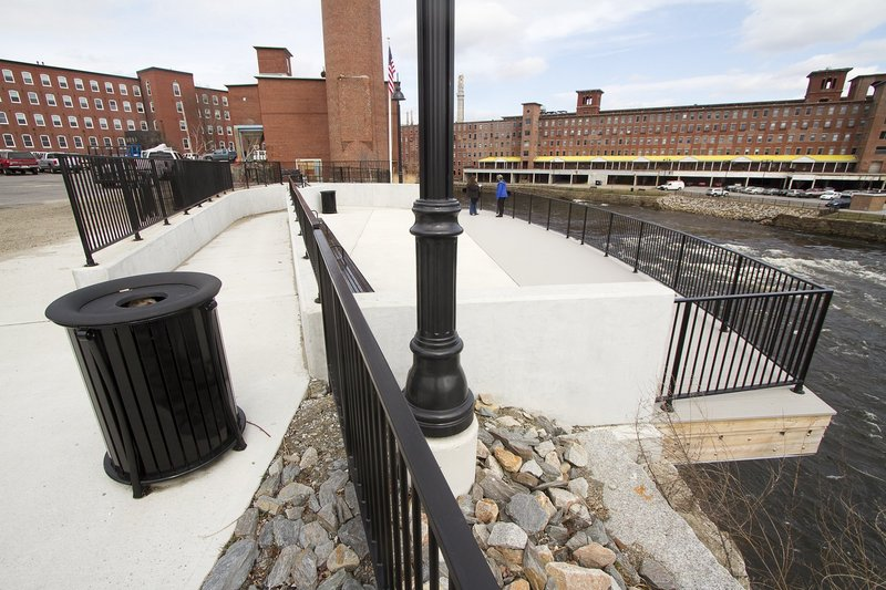 Part of the RiverWalk is already completed on the Biddeford side. The first phase of the project included construction of a scenic overlook near North Dam Mill that gives views of the Saco River on the Biddeford-Saco city lines.