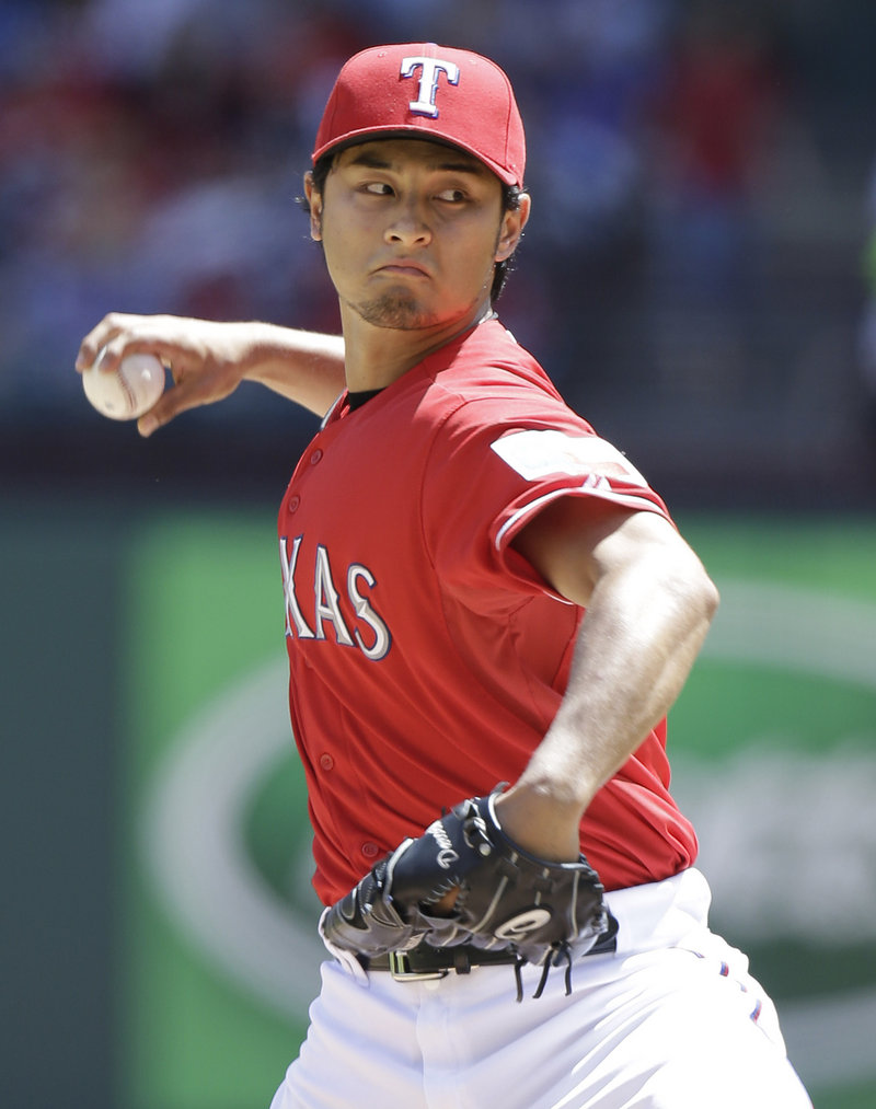 Texas starter Yu Darvish rang up 14 K's against the Red Sox – the second time he's done it this year – but also allowed two Boston home runs.