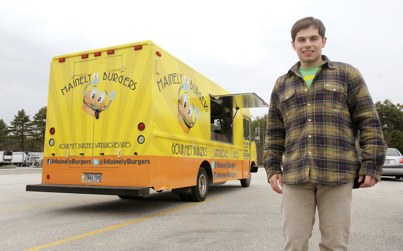 Owners Jack Barber, pictured, and Ben Berman will open Mainely Burgers 2.0, a Portland version of the truck they'll continue to operate at Scarborough Beach.