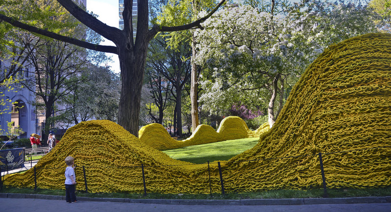 Artist Orly Genger used more than 1.4 million feet of recycled lobster rope to create her installation in New York City's Madison Square Park. It will be on view through Sept. 8.