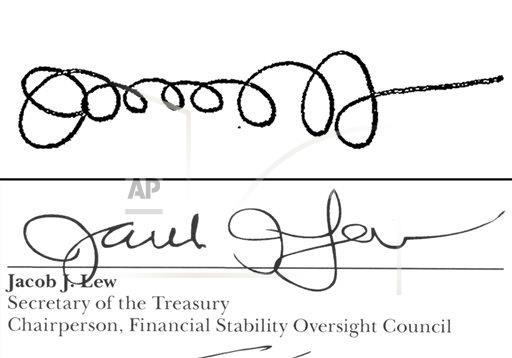 These examples of Treasury Secretary Jacob Lew's signatures show his improving penmanship. He still has time before his name appears on U.S. currency.