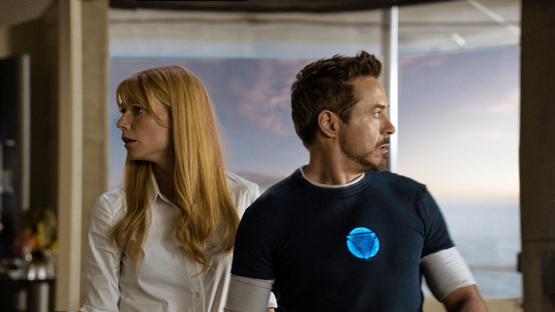 "Gwyneth Paltrow and Robert Downey Jr. in ""Iron Man 3."""