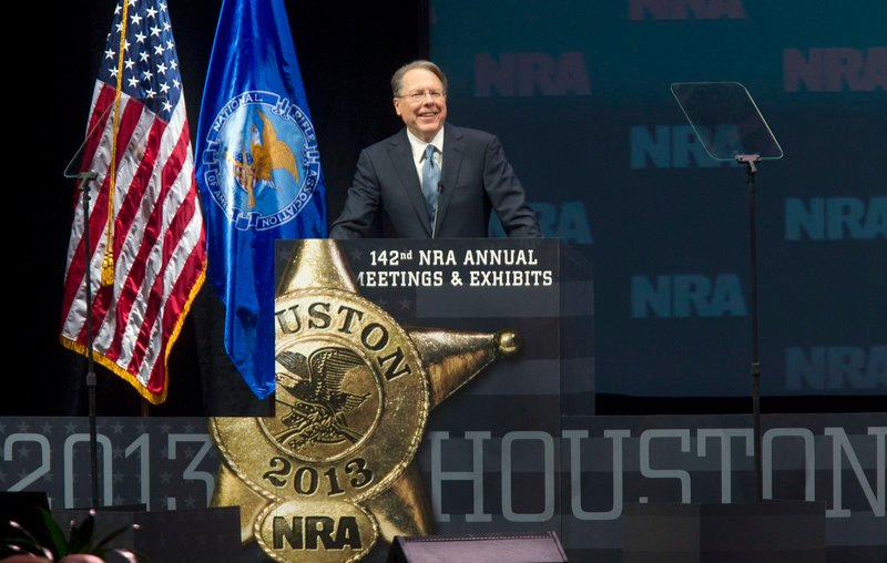 CEO Wayne LaPierre addresses the National Rifle Association convention May 4. A reader says he was disturbed by reports that those at the convention were advised to store guns in youngsters' bedrooms.