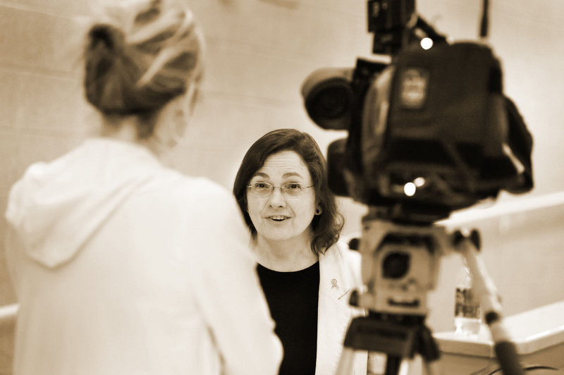 "Lyme disease specialist Dr. Bea Szantyr, shown in front of the camera, will give a ""Tick Talk"" on Thursday."