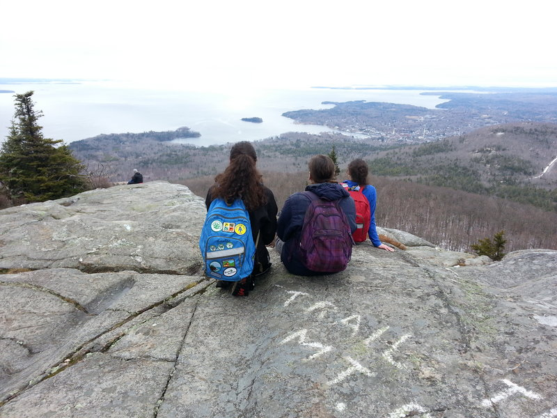 The reward for a hike up Mount Megunticook in Camden Hills State Park was the enjoyment of a marvelous view while getting to bask in the spring sun.