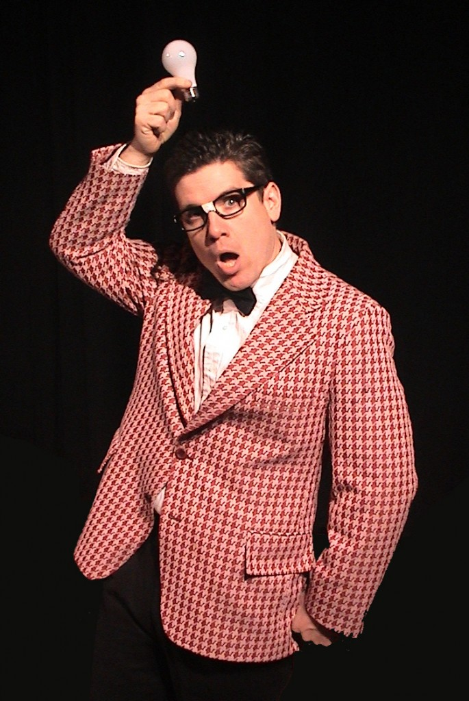 """Leland Faulkner as Wally Wiggins, above, and Mike Miclon as Dickie Hyper-Hynie, below, bring their entertainment expertise to the """"Geeky Edition of the Early Evening Show"""" Friday and Saturday at the Freeport Theater of Awesome."""