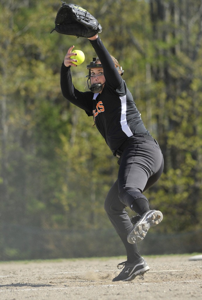 Abbie Paquette was sharp for the Tigers in their May 13 win against Westbrook, striking out nine while holding the Blue Blazes to a run on four hits and a walk.