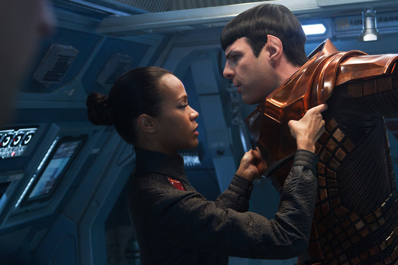 "Zoe Saldana as Uhura is emotionally attached to Zachary Quinto as Spock in J.J. Abrams' new ""Star Trek"" film."