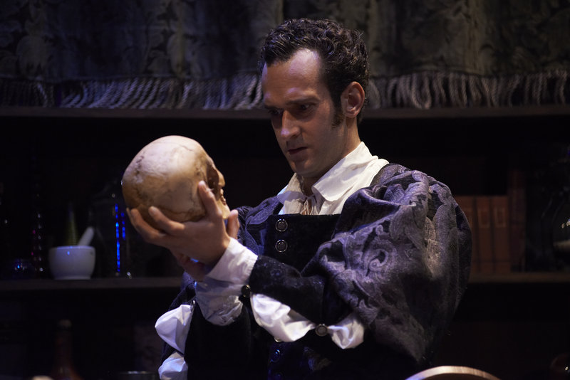 "Rob McFadyen as Hamlet in the David Davalos comedy ""Wittenberg,"" which concludes its run at Portland Stage Co. this weekend."