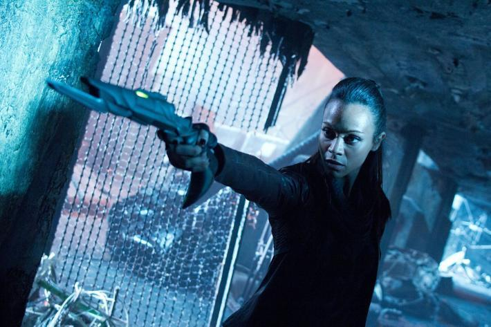 "Zoe Saldana as Nyota Uhura in ""Star Trek Into Darkness."""