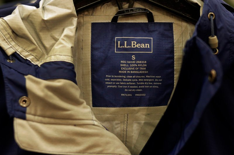 Jackets like this one in the men's section at L.L. Bean are made in Bangladesh. Brands include the Ascent Gore-Tex Jacket, the Trail Model Raincoat and the Goose-down Vest.