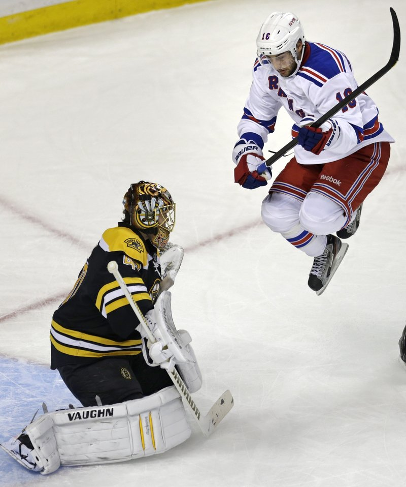 New York's Derick Brassard isn't jumping for joy as Boston goaltender Tuukka Rask turns aside a shot that the Ranger dodged during first-period action Thursday in Boston.