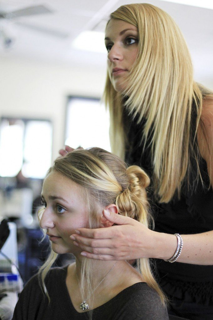 Mackenzie Leighton has her hair done by Aili Harmon at Belissimo in South Portland. It was her first up-do.