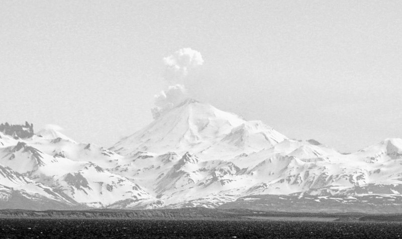 Alaska's Pavlof Volcano emits a steam and ash plume, as seen Tuesday from the community of Cold Bay. The volcano is 625 miles southwest of Anchorage.