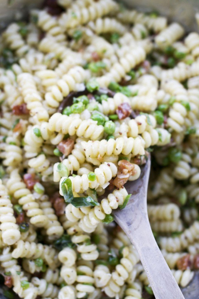 Carbonara pasta salad has the pancetta and eggy sauce of the traditional hot version.