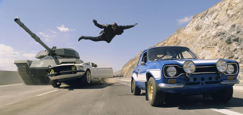"One of the car chases in ""Fast & Furious 6"" includes a tank."