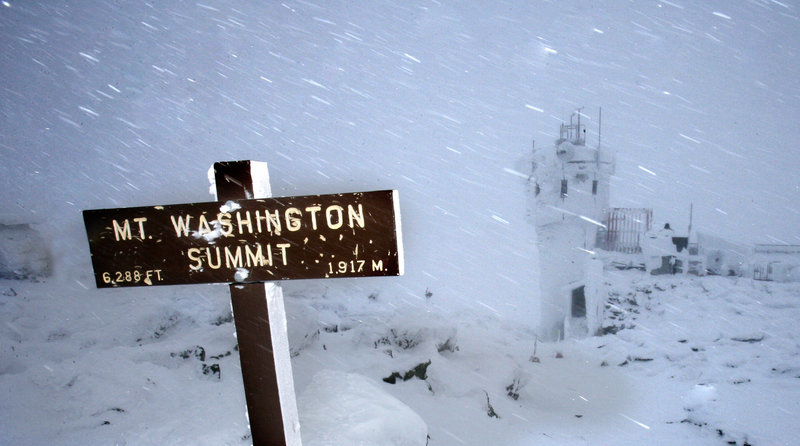 In this February 2007 photo wind and driving snow are seen on the top of the highest peak in the Northeast, Mount Washington, in New Hampshire. The Associated Press