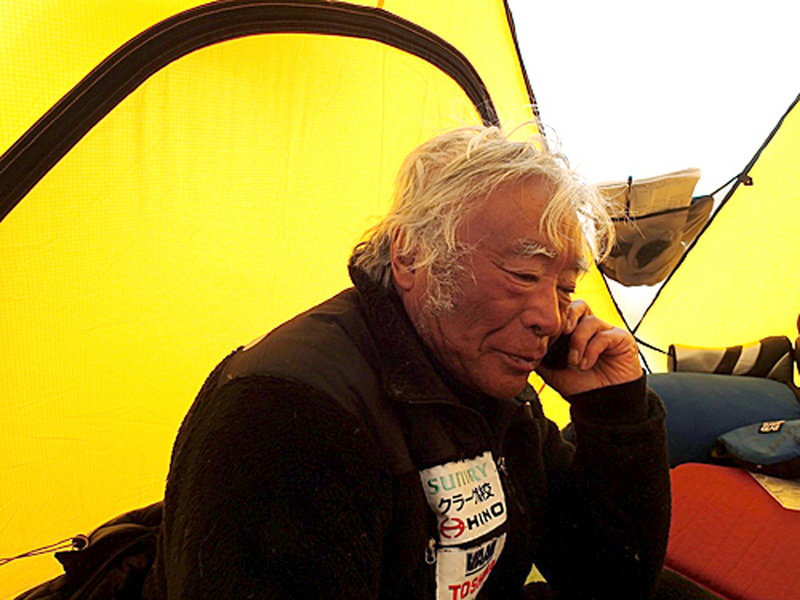 Yuichiro Miura, 80, rests in a camp at 26,247 feet Wednesday. On Thursday, the Japanese climber became the oldest to reach Mount Everest's 29,035-foot peak.