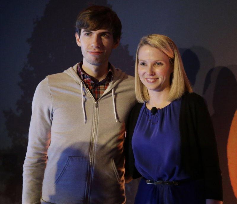 Tumblr CEO David Karp appears earlier this year in New York with Yahoo CEO Marissa Mayer. Karp, 26, who sold the online blogging forum to Yahoo for $1.1 billion, is a high school dropout.