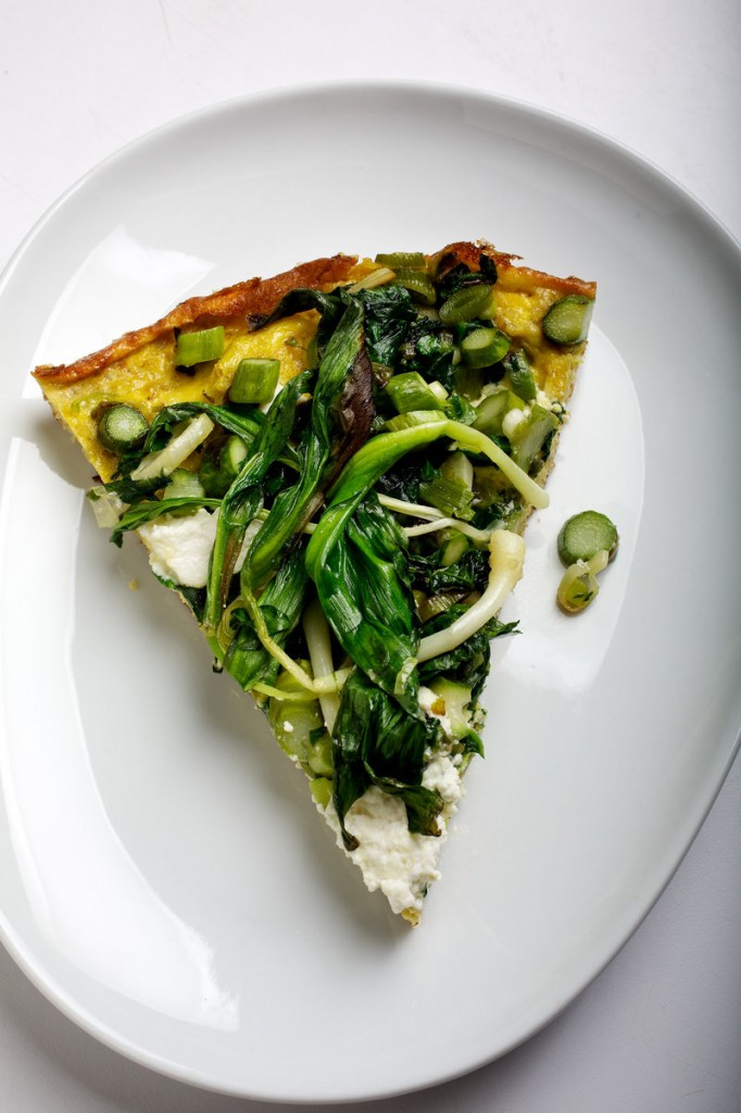The spring vegetables for a Ricotta Frittata can be chosen as they become available.