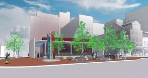 An architect's rendering of the redesigned Congress Square Plaza proposal shows an addition to the nearby hotel and a park along Congress Street.