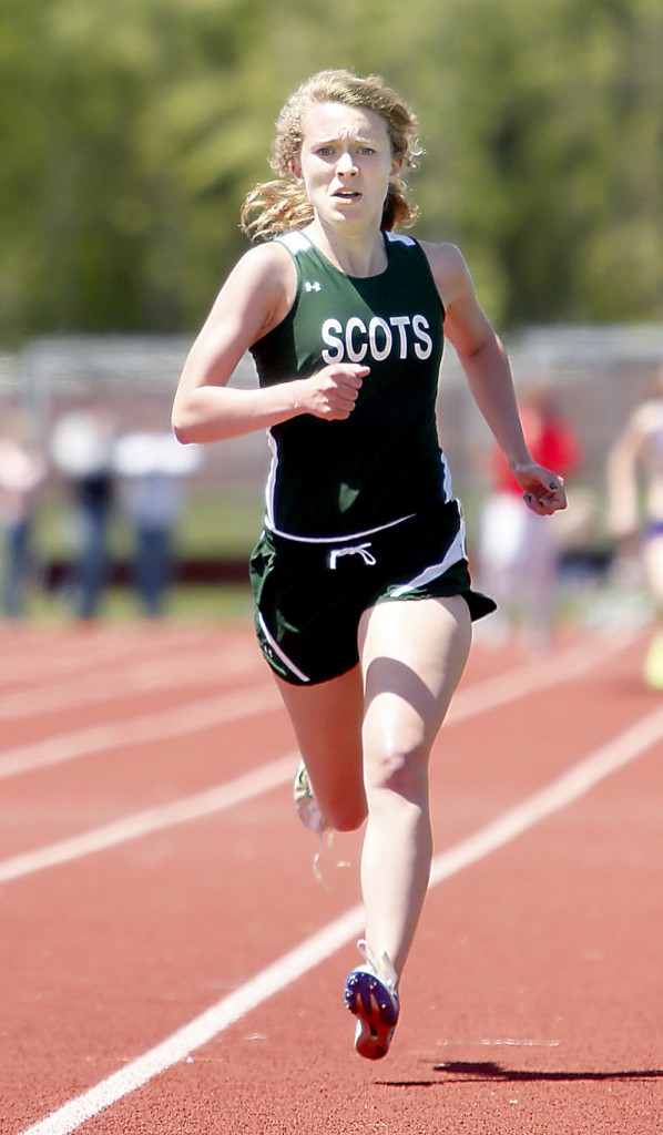Samantha Cox of Bonny Eagle heads toward the finish line to win the 1,600 in 5:15.98. She also placed second in the 800.