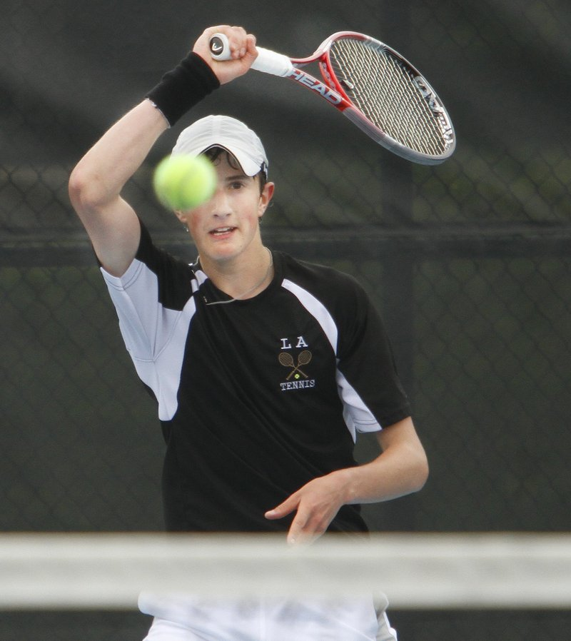 Jordan Friedland of Lincoln Academy won two matches Monday to reach the semifinals.