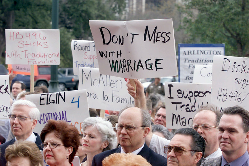 Opposition to gay marriage remains strong in states such as Texas where dozens of proponents attended a February 2001 rally at the Capitol in Austin in support of legislation that would limit marriage to between a man and a woman.