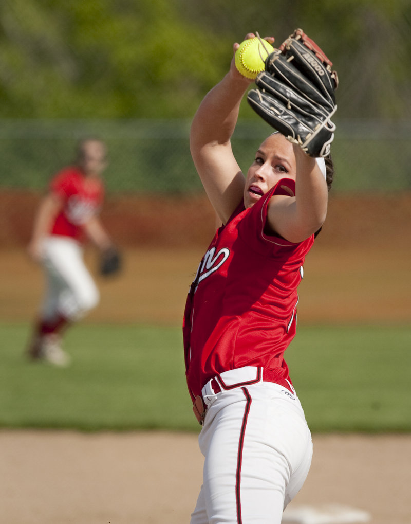 Erin Giles of Scarborough throws a pitch in Tuesday's softball game at Biddeford. The Red Storm won, 9-5.