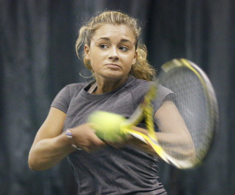 Maisie Silverman of Brunswick defeated Olivia Leavitt of Falmouth in three sets in last year's tournament, but this time fell 6-1, 6-1 in the girls' championship match.
