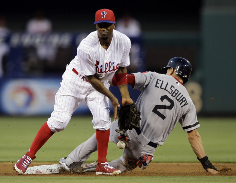This was a familiar sight Thursday night: Jacoby Ellsbury of Boston sliding in with a stolen base. Jimmy Rollins takes the throw for the Phillies. Ellsbury had a team-record five steals.