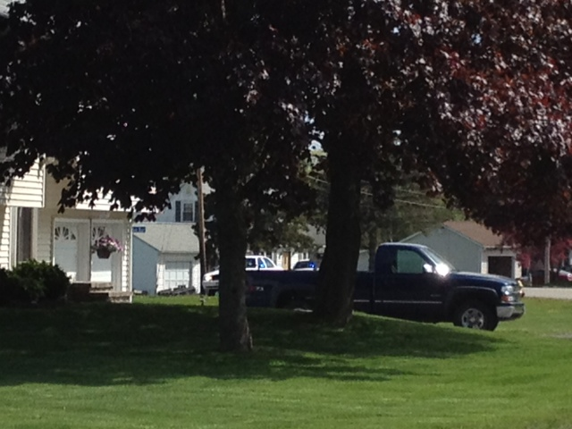 The scene on Hillview Avenue in Saco on Saturday afternoon.