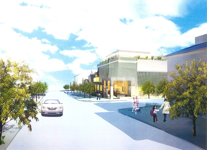 View looking east on Congress Street toward proposed St. Lawrence performance center on right. Artist's rendering.