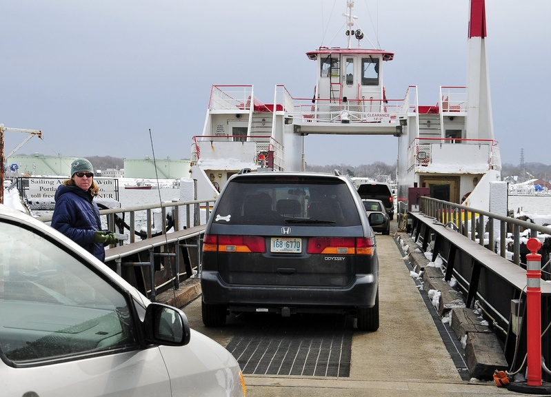 Passengers drive their cars onto a ferry at the Casco Bay Lines ferry terminal. A general contractor has been chosen for a renovation project at the terminal.