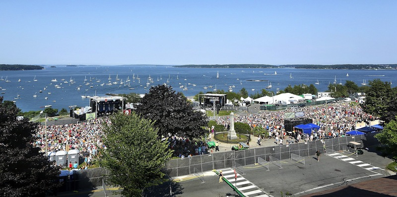 "In this August 2012 file photo, thousands gather for the ""Gentlemen of the Road Stopover"" concert on Portland's Eastern Promenade along the water. The public will learn Tuesday, June 18, 2013 how Portland plans to brand itself for tourism and business development."
