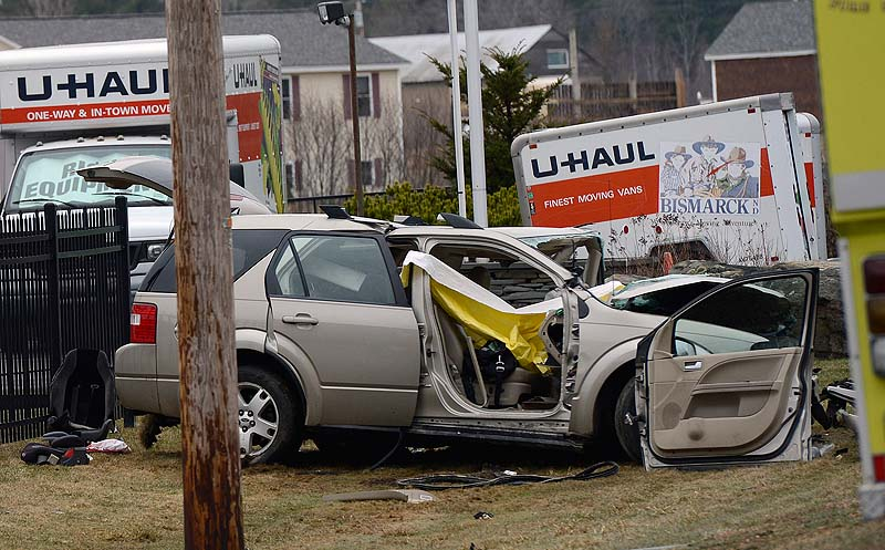 A photo of one of the vehicles involved in a fatal crash on Route 4 in Berwick on Wednesday, April 10, 2013, which killed popular special education teacher Amy Harris.