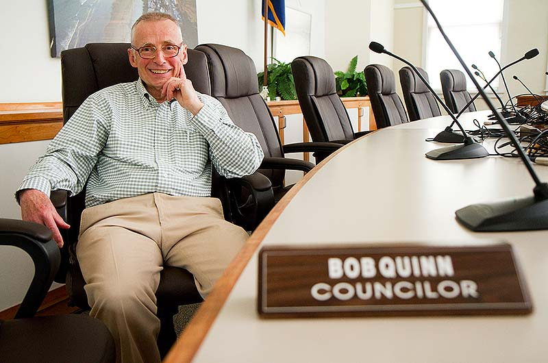 Old Orchard Beach City Councilor Bob Quinn sits in the Council Chambers at Town Hall on Wednesday. Bob was the only one of the previous council to be re-elected,