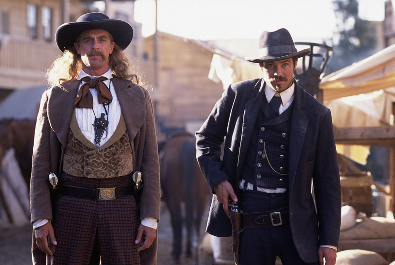"Keith Carradine, left, who played the legendary gunslinger ""Wild Bill"" Hickok, is shown with Timothy Olyphant in a scene from ""Deadwood,"" HBO's gritty Western drama."